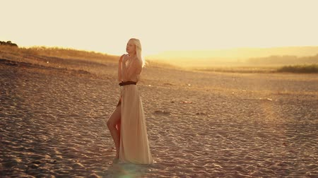 brown dress : Young seductive woman with long hair in a beautiful dress walks on the beach at sunset, yellow desert sand