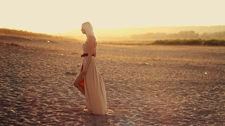 brown dress : Young sexy beautiful girl with long hair in a beautiful dress walks on beach at sunset dress develops in the wind, yellow desert sand