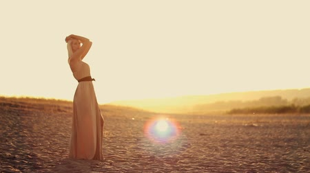 brown dress : Young sexy beautiful girl with long hair in  a beautiful dress walking at sunset on the sand Stock Footage