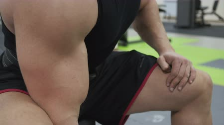 lift ups : Male bodybuilder training hands. Preparing for the competition. Healthy lifestyle Stock Footage