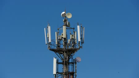 emit : telecommunication cellular tower against blue sky, with room for copy space