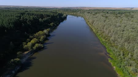 soft earth : Aerial photography of the river With a beautiful landscape forest and river nature of Russia Stock Footage