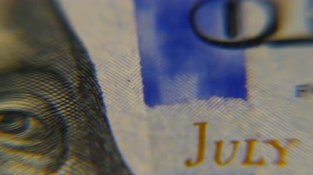 one hundred : Dollars macro. Very detailed image of American money. Stock Footage