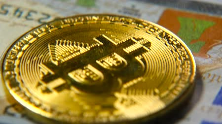 benefício : Gold bitcoins and dollars. New and old money. Virtual money Stock Footage