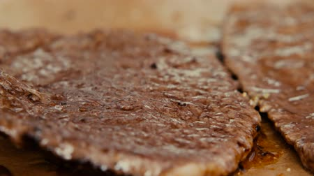 fresh produce : Cooking a juicy slice of steak. Stock Footage