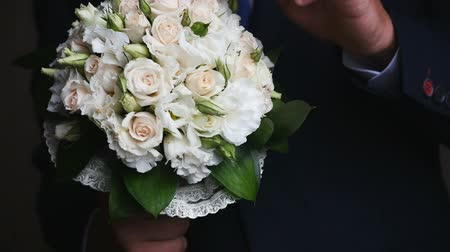 Wedding bouquet and ringswedding bouquet and rings. beloved. Stock Footage