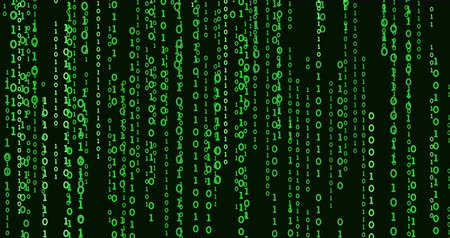 matriz : The green matrix on a black background. Video falling numbers 1 and 0. The binary code moves down. Stock Footage