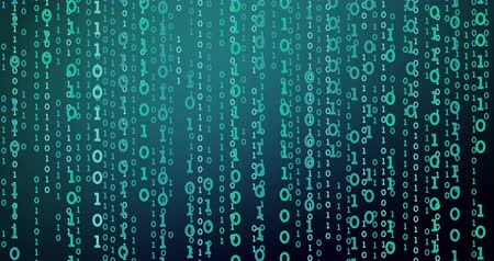 globalização : The blue matrix on a black background. Video falling binary code. The binary code moves down. Stock Footage
