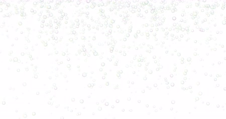 submerso : Soap bubbles are falling in the air. White background.