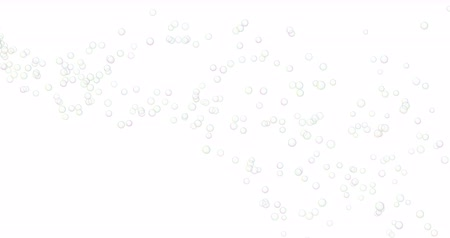 submerge : Soap bubbles flying to the right side. White background. 4K video.
