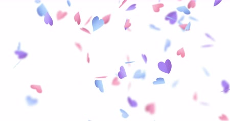 videotape : Pink, blue, purple, paper hearts falling down. Romantic footage Stock Footage