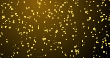 digital art : Golden stars twinkle and fall. Motion for party. New year and Christmas. Stock Footage
