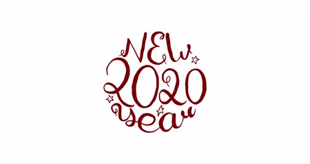 compositing : Jiggle new year calligraphy sketch. 2020 greeting card animation. White background and red text.