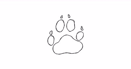tlapky : Dog paw print sketch shaking.