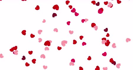 luty : Pink and red falling hearts design. Valentine day background.