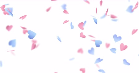 videotape : Pink and blue paper hearts falling down. Stock Footage