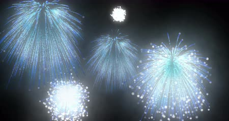 pirotecnia : Blue Fireworks . Salute in the night sky. Pyrotechnic fire.