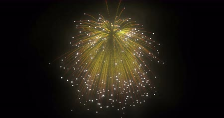 pirotecnia : Golden Fireworks Yellow salute in the night sky. Pyrotechnic fire.