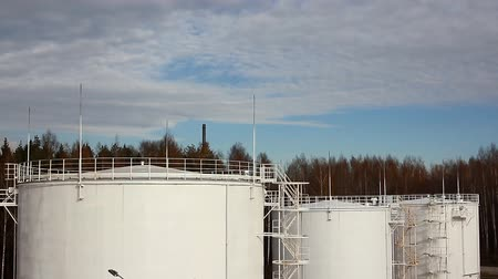 receptacle : Oil storage in Russia under blue sky Stock Footage