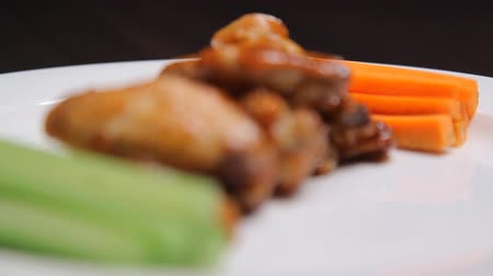 Fried chicken with cucumbers and carrots