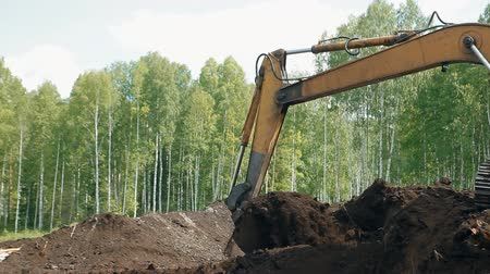 An excavator is loading the ground with a bucket Dostupné videozáznamy