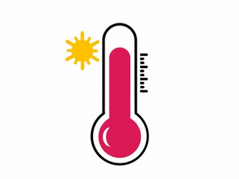 mercúrio : hot temperatue on thermometer with yellow sun symbol shows increasing temperature