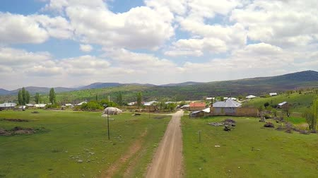 wideangle : Aerial shot of a rural landscape in spring day