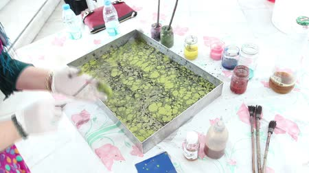 aqueous : Marbling - The art of painting on the water.