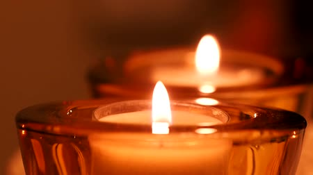 cera : Candle flame glowing in the dark Stock Footage