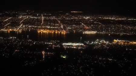 őrlés : Vancouver night view from the top of Grouse Mountain Stock mozgókép