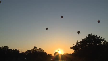 microstock : Sunrise With Hot Air Balloons (Timelapse)