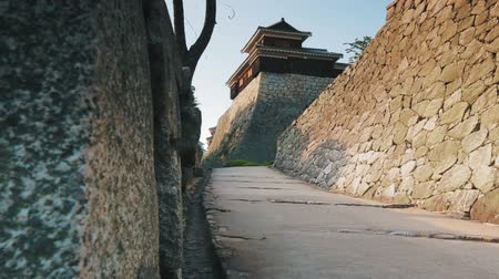 samuraj : Revealing the Ancient Castle Tower. Dolly shot