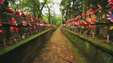 sagrado : Hundreds of Japanese Buddhist statues (Ojizo) at Tokyos Zojoji temple. Glidecam shot. Vídeos