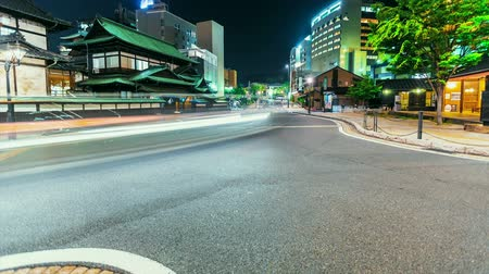 historical building : Time lapse of traffic around Dogo Onsen, the ancient Japanese bathhouse