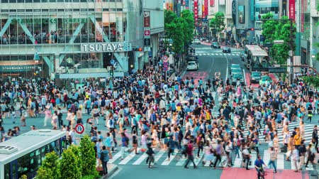 crosswalk : People and vehicles cross the famous Shibuya intersection in Tokyo in time lapse on May 23, 2014.The Shibuya scramble crosswalk is one of the busiest intersections in the world.