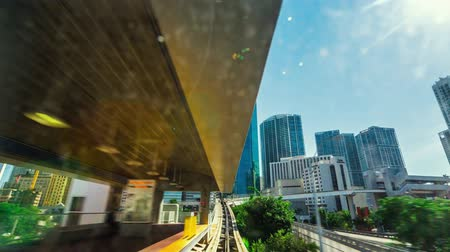 хайтек : Point of view timelapse (hyperlapse) of Downtown Miami from the Miami Metromover during the day. High definition 1080p. Clip contains the complete Стоковые видеозаписи