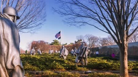 war : Timelapse of the Korean War Veterans Memorial in Washington DC Stock Footage