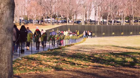 запомнить : People walking through the Vietnam Veterans Memorial in Washington DC Стоковые видеозаписи