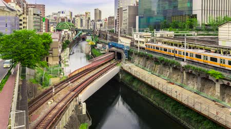 tokio : Time-lapse of multiple train lines in Ochanomizu, Tokyo, Japan Wideo