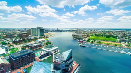 voertuig : Luchtfoto time-lapse van Baltimore Inner Harbor Stockvideo
