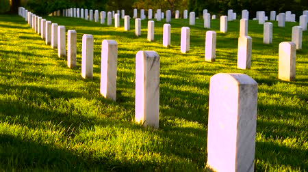 united states : Arlington National Cemetery panning shot at sunset Stock Footage