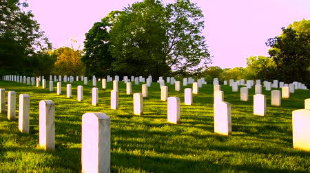 gravestone : Arlington National Cemetery panning shot at sunset Stock Footage
