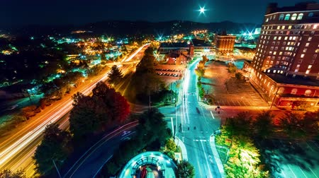 Timelapse of the city lights of Asheville, North Carolina at night Stok Video