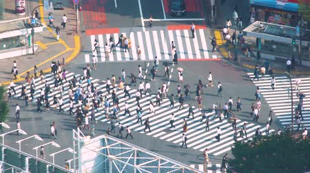 tokio : TOKYO, JAPAN - SEP, 25 2017: People cross the famous intersection in Shibuya, Tokyo, Japan one of the busiest crosswalks in the world.