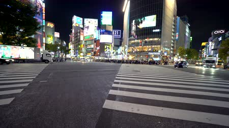 TOKYO, JAPAN - SEP, 25 2017: Traffic crosses the famous intersection in Shibuya, Tokyo, Japan one of the busiest crosswalks in the world. Stok Video