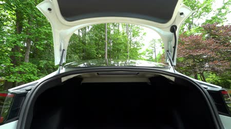 battery vehicle : RALEIGH, USA, JULY 03, 2018: View of the trunk in a brand new white Tesla Model 3. The model 3 is set to be the Teslas first mass market electric vehicle.