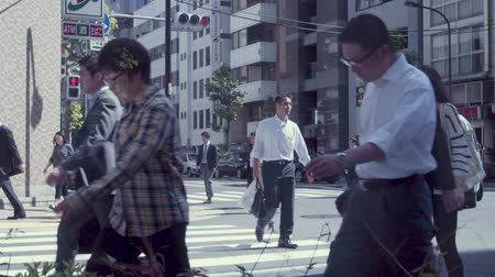 TOKYO, JAPAN - JUNE 23, 2015: People cross the street in a business district of Tokyo, Japan in slow motion Stok Video