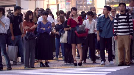 crossing road : TOKYO, JAPAN - SEP, 25 2017: People cross the famous intersection in Shibuya, Tokyo, Japan one of the busiest crosswalks in the world.