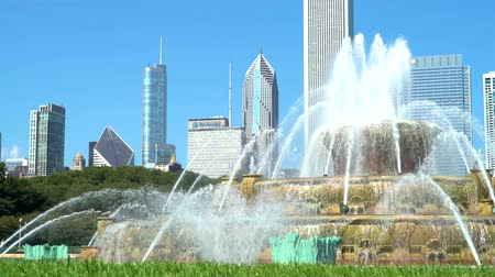 travel footage : Fountain against the downtown Chicago skyscrapers skyline