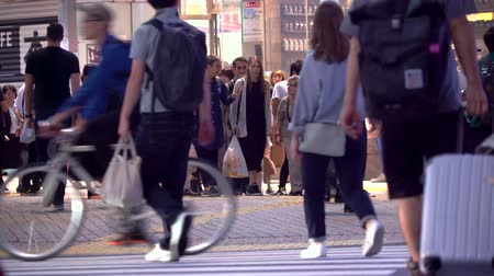 zsúfolt : TOKYO, JAPAN - SEP, 25 2017: People cross the famous intersection in Shibuya, Tokyo, Japan one of the busiest crosswalks in the world.